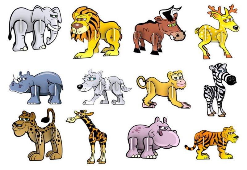 3D puzzle Veselá zvířátka 12 ks