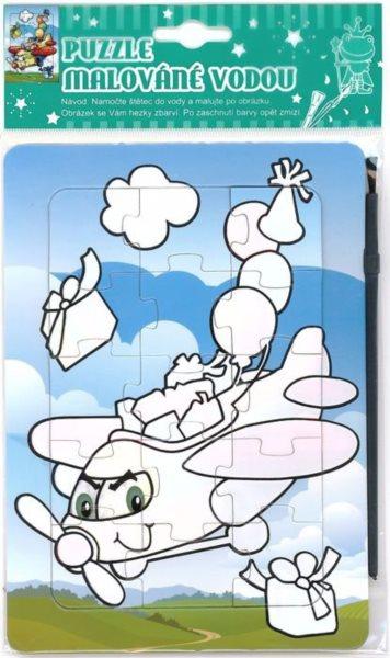 Puzzle s vodním malováním 15 dílků - Veselé letadlo