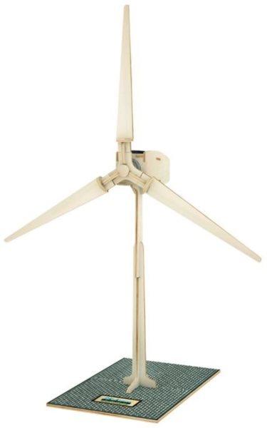3D dřevěné puzzle ROBOTIME Solární větrná elektrárna W100