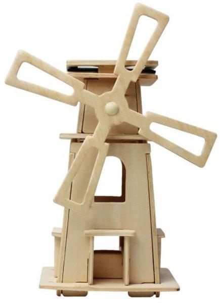 3D dřevěné puzzle ROBOTIME Solární větrný mlýn W130