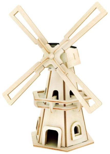 3D dřevěné puzzle ROBOTIME Solární větrný mlýn W110