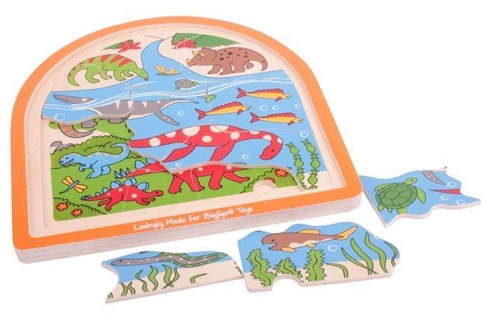 BIGJIGS Vícevrstvé puzzle Dinosauři