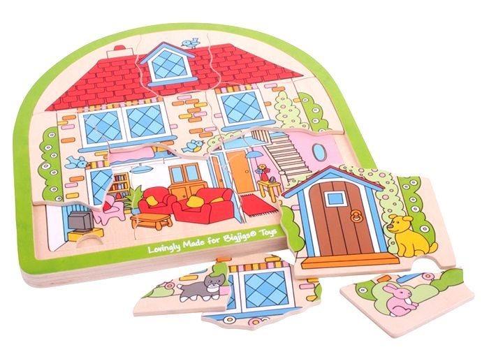 BIGJIGS Vícevrstvé puzzle Domeček