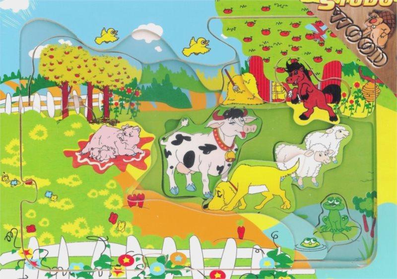 STUDO WOOD Vícevrstvé puzzle Farma