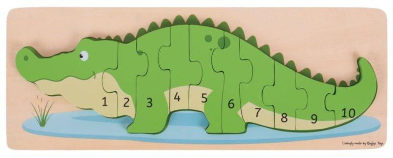 BIGJIGS Vkládací puzzle Krokodýl s čísly