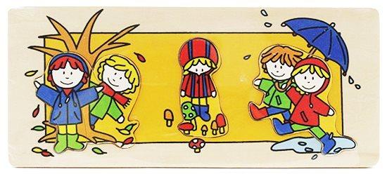 Vkládačka BINO 88098 Čtyři roční období: Podzim - Dřevěná dětská vkládačka