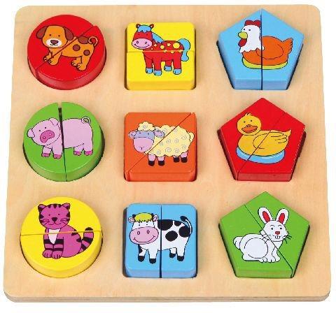 Dřevěné puzzle - Vkládačka Domácí zvířátka a tvary