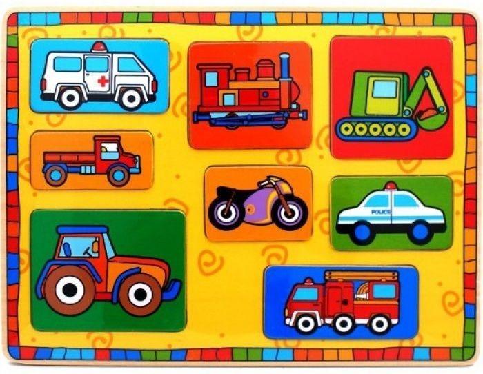 Playme Dětská dřevěná vkládačka Dopravní prostředky