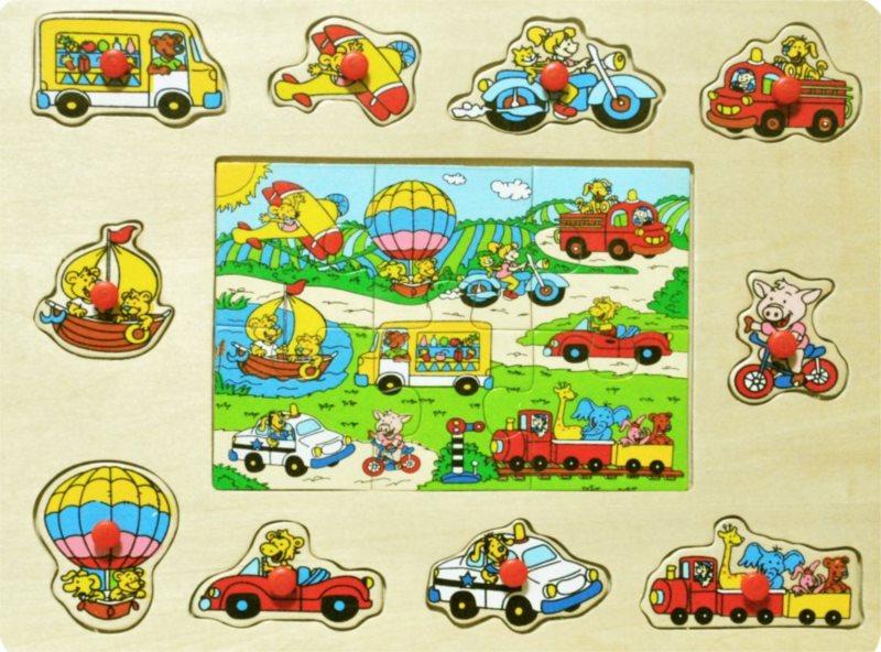 PLAYME Vkládačka + Puzzle: Dopravní prostředky