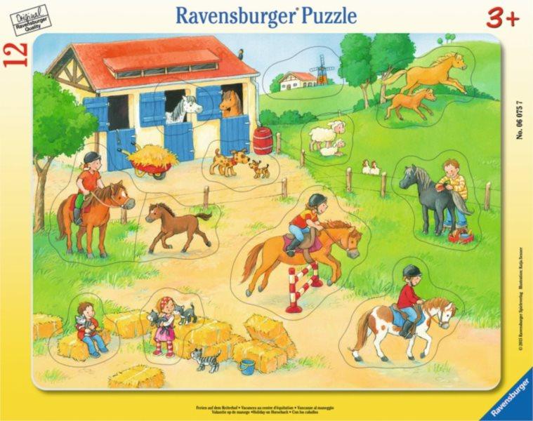 Deskové puzzle RAVENSBURGER 12 dílků - Katja Senner: Prázdniny s koníky