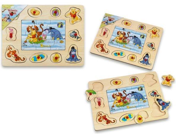 Dřevěná vkládačka + puzzle: Medvídek Pú - vodní hrátky