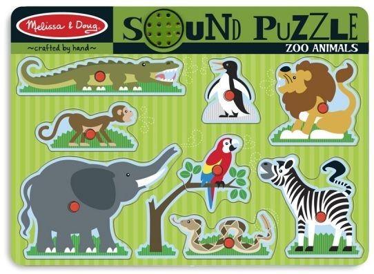 Dětská dřevěná vkládačka se zvuky Divoká zvířata