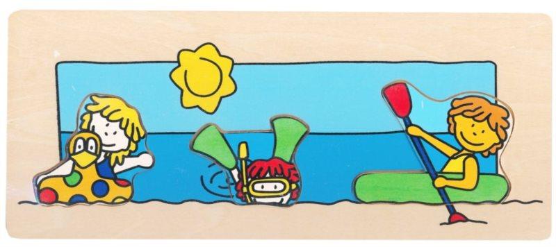 Vkládačka BINO 88098 Čtyři roční období: Léto - Dřevěná dětská vkládačka
