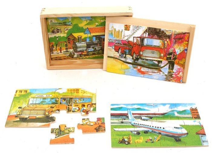 Dřevěné puzzle 4v1 Vlak, letadlo, autobus, hasiči 4x12 dílků