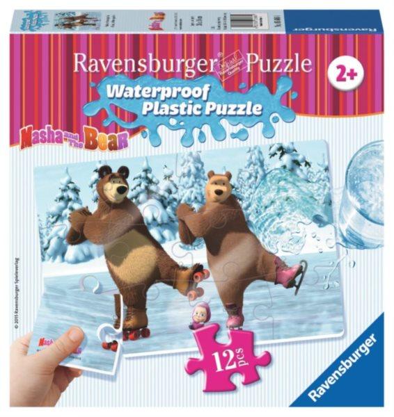 RAVENSBURGER Voděodolné puzzle Máša a medvěd: Na bruslích 12 dílků