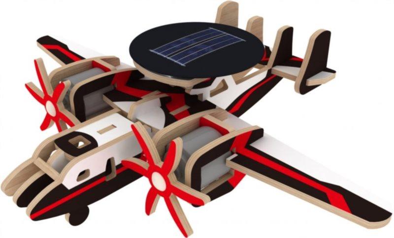3D dřevěné puzzle ROBOTIME Solární vojenské letadlo barevné P340S