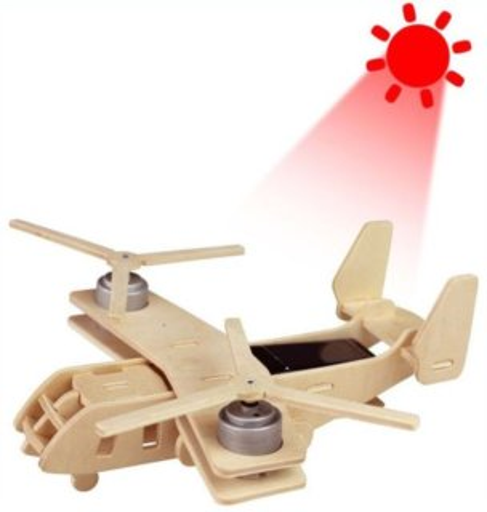 3D dřevěné puzzle ROBOTIME Solární vojenské letadlo V22 P310