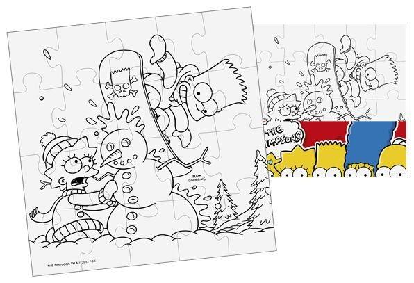 Omalovánkové puzzle: Vymaluj si puzzle Simpsonovi - čtverec 20 dílků