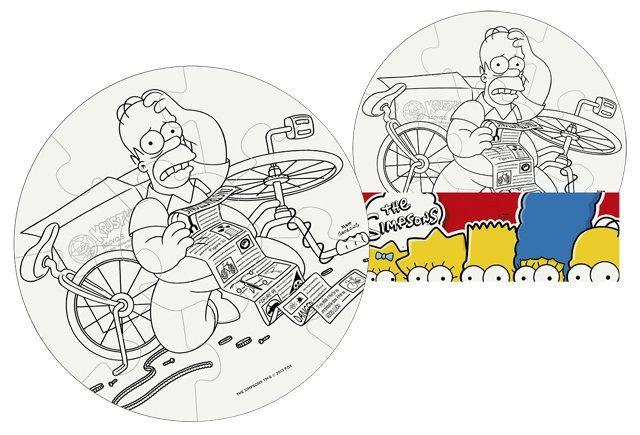 Omalovánkové puzzle: Vymaluj si puzzle Simpsonovi - kruh 9 dílků