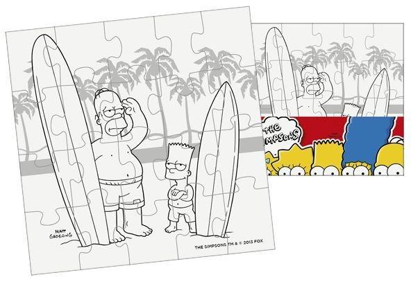 Omalovánkové puzzle: Vymaluj si puzzle Simpsonovi - malý čtverec 20 dílků