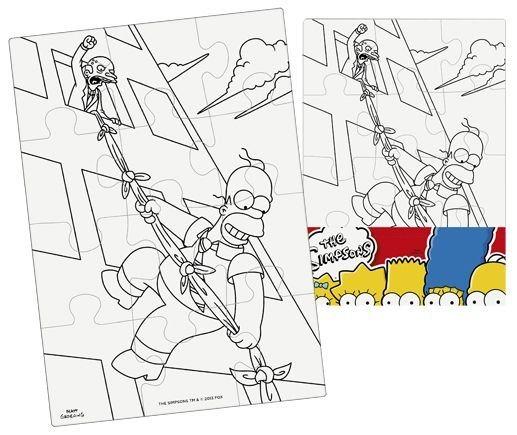 Omalovánkové puzzle: Vymaluj si puzzle Simpsonovi - obdélník (12 dílků)