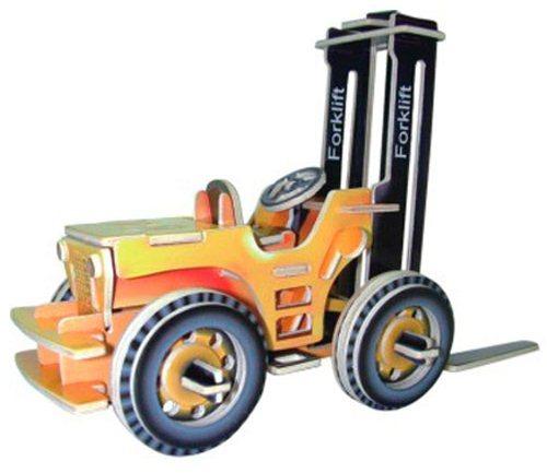 WOODEN TOY , WCK 3D puzzle Vysokozdvižný vozík barevný