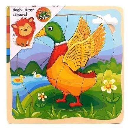 PLAYME Vývojové dřevěné puzzle Kačer