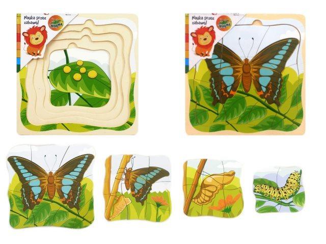 Playme Vývojové dřevěné puzzle Motýl
