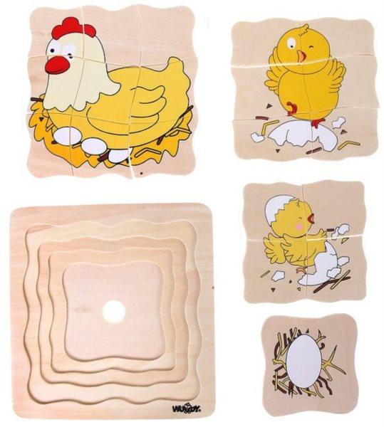 WOODY Vývojové dřevěné puzzle Slepice