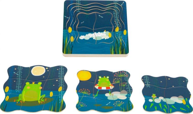 SMALL FOOT Vývojové dřevěné puzzle Žába