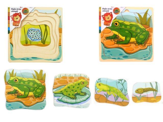 Playme Vývojové dřevěné puzzle Žába