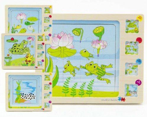 TEDDIES Vývojové dřevěné puzzle Žába