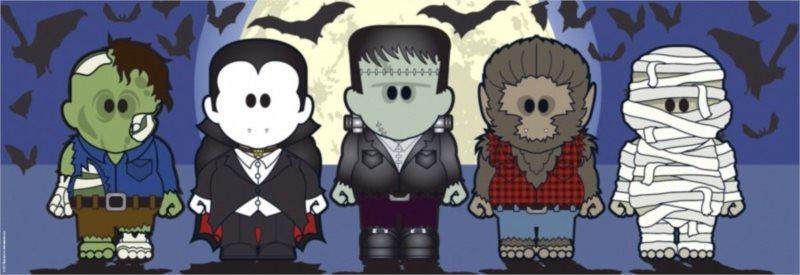 Panoramatické puzzle HEYE 1000 dílků - Weenicons: Halloweenies