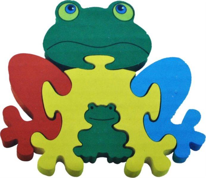 Dětské dřevěné puzzle, Žabky