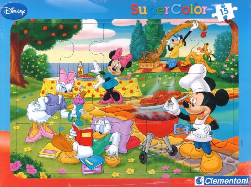 Deskové puzzle CLEMENTONI 15 dílků - Zahradní párty u Mickeyho
