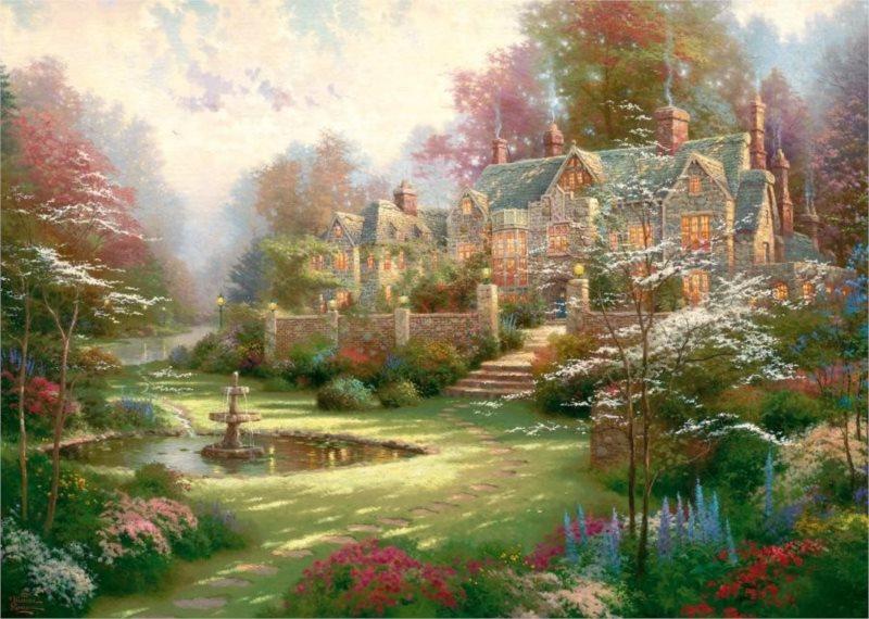 Puzzle SCHMIDT 2000 dílků - Thomas Kinkade, Zahrady ve Spring Gate