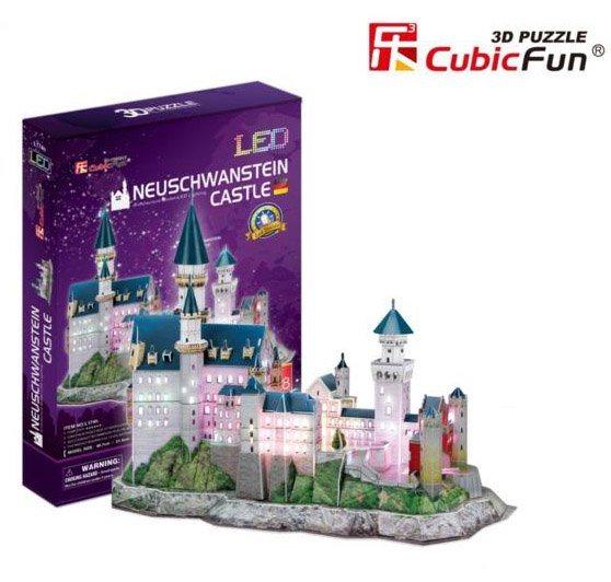 CUBICFUN Svítící 3D puzzle Zámek Neuschwanstein 128 dílků