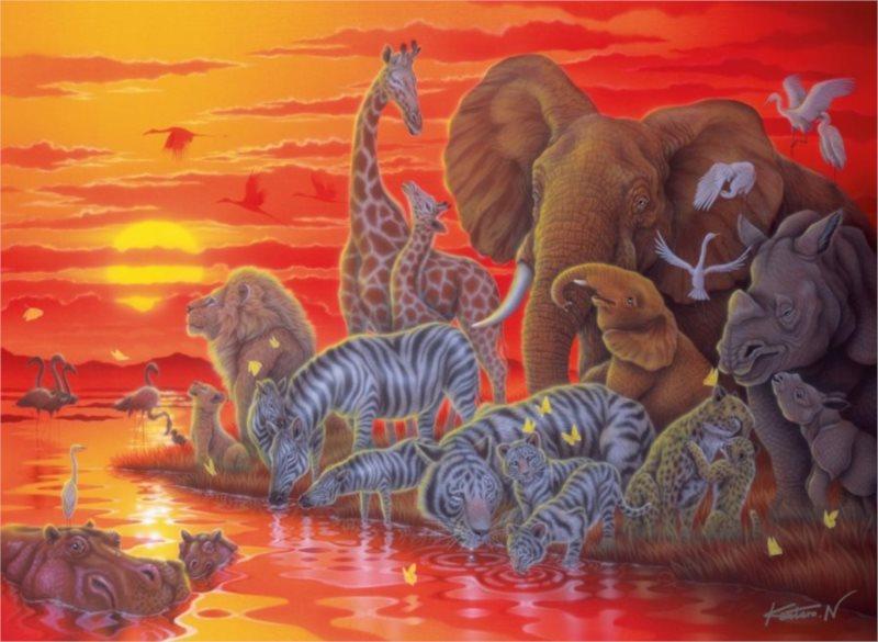 RAVENSBURGER Puzzle Západ slunce v Africe 500 dílků