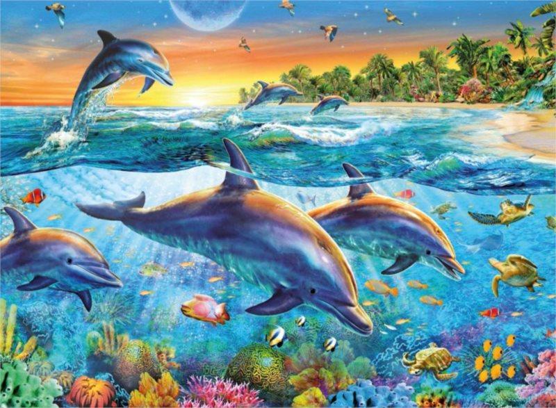 RAVENSBURGER Puzzle Zátoka delfínů 500 dílků