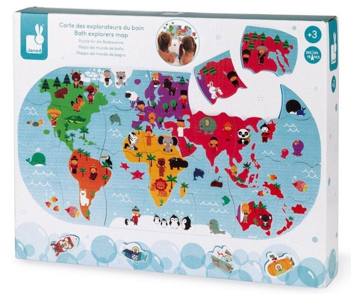 JANOD Puzzle do vany Mapa světa 28 dílků