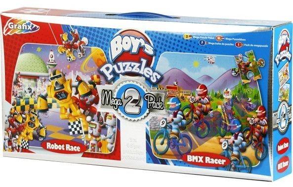 Dětské puzzle GRAFIX - Závod robotů & Závodníci BMX, 2 x 45 dílků