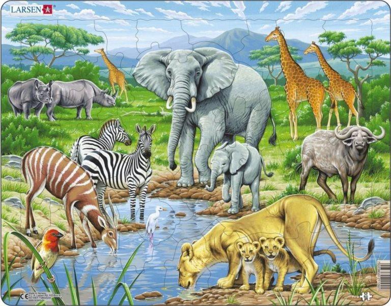 LARSEN Puzzle Život v africké savaně 65 dílků