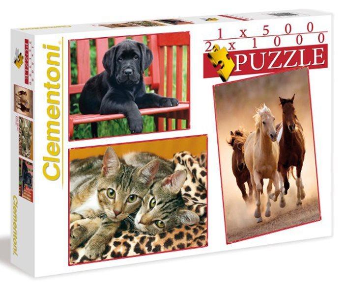 Puzzle CLEMENTONI 2x1000 + 1x500 dílků - Zvířata 3v1