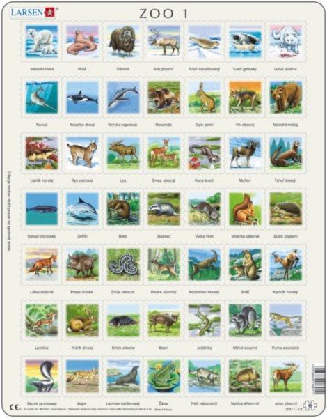 Edukativní puzzle LARSEN 49 dílků - Zvířata severní polokoule