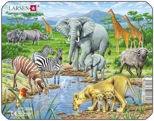 Dětské puzzle LARSEN 11 dílků - Zvířata u napajedla