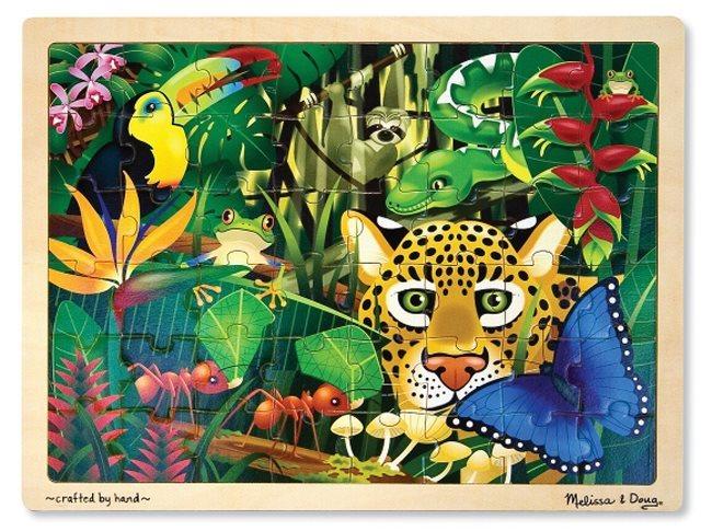 Melissa & Doug Dřevěné puzzle pro děti Zvířata v džungli 48 dílků