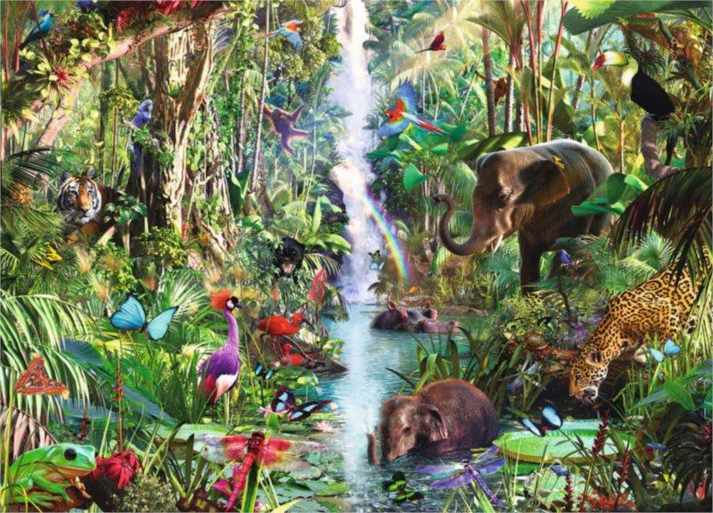 Puzzle RAVENSBURGER 9000 dílků - D.Penfound, Zvířata v džungli