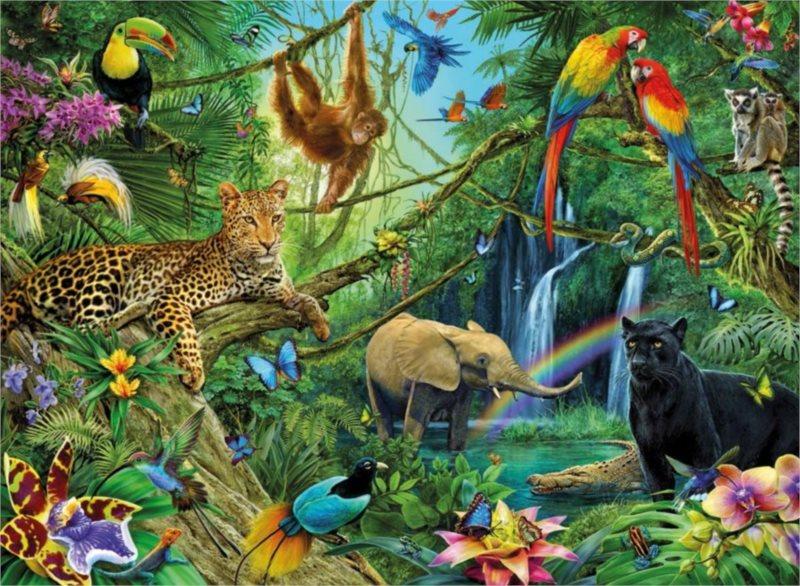 Dětské puzzle RAVENSBURGER 200 dílků - Zvířata v džungli XXL
