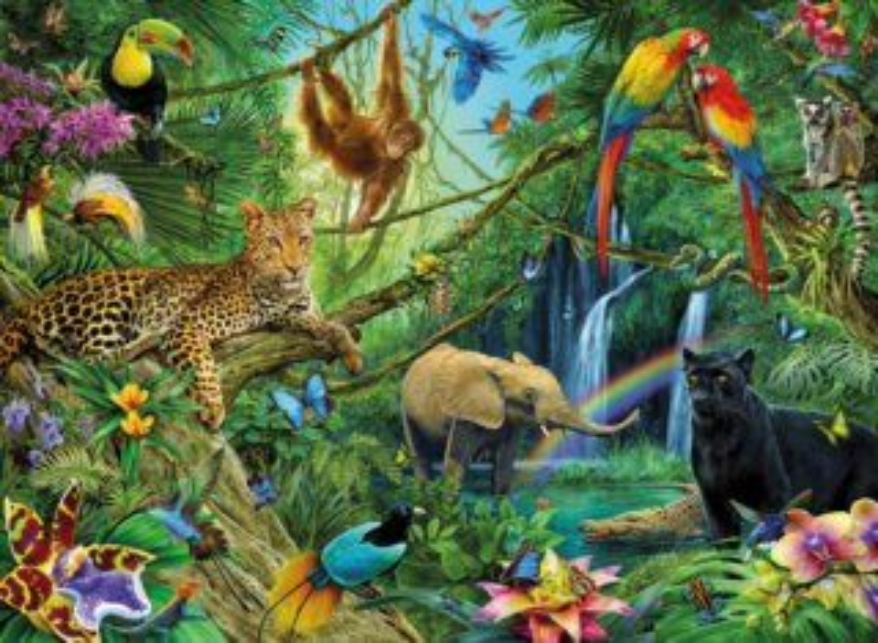 RAVENSBURGER Puzzle Zvířata v džungli XXL 200 dílků