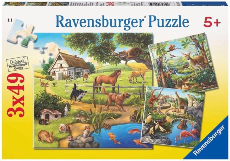 RAVENSBURGER Puzzle Zvířata v lese, ZOO a na statku 3x49 dílků